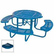 """46"""" Round Table, Perforated, 80""""W x 80""""D, Coated Steel, Blue"""