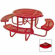 """46"""" Round Table, Perforated, 80""""W x 80""""D, Coated Steel, Red"""