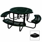 """46"""" Round Table, Perforated, 80""""W x 80""""D, Coated Steel, Black"""