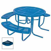 "46"" ADA Round Table, 3-Seat, Perforated 80""W x 63""D, Blue"