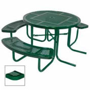 "46"" ADA Round Table, 3-Seat, Perforated 80""W x 63""D, Green"