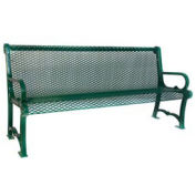 6' Charleston Backed Bench, Diamond Pattern, Green