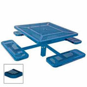"Single Pedestal 46"" Square Table, Inground, Perforated 78""W x 78""D, Blue"
