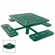 "Single Pedestal 46"" Square Table, Inground, Perforated 78""W x 78""D, Green"
