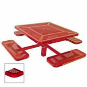 "Single Pedestal 46"" Square Table, Inground, Perforated 78""W x 78""D, Red"
