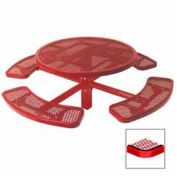 """Single Pedestal 46"""" Round Table, Inground, Expanded Metal 78""""W x 78""""D, Red"""