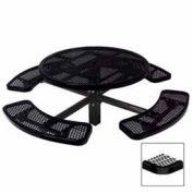 "Single Pedestal 46"" Round Table, Inground, Expanded Metal 78""W x 78""D, Black"