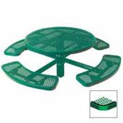 "Single Pedestal 46"" Round Table, Inground, Expanded Metal 78""W x 78""D, Green"