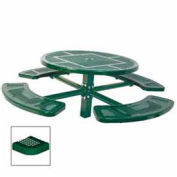 """Single Pedestal 46"""" Round Table, Inground, Perforated 78""""W x 78""""D, Green"""
