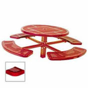 """Single Pedestal 46"""" Round Table, Inground, Perforated 78""""W x 78""""D, Red"""