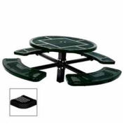 "Single Pedestal 46"" Round Table, Inground, Perforated 78""W x 78""D, Black"