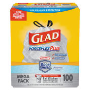 Glad 70427 ForceFlex Tall Kitchen Drawstring Trash Bags, White, 13 Gal, 0.9 Mil, 100/Box