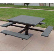4' T-Table, Recycled Plastic, Gray
