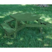 Hex Picnic Table, Recycled Plastic, 6 ft, Green & Green, ADA