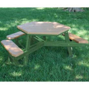 Hex Picnic Table, Recycled Plastic, 6 ft, Green & Cedar, ADA