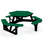 Hex Picnic Table, Recycled Plastic, 6 ft, Black & Green