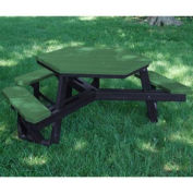 Hex Picnic Table, Recycled Plastic, 6 ft, Black & Green, ADA