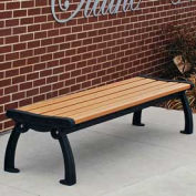 Heritage Backless Bench, Recycled Plastic, 5 ft, Black & Cedar