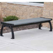Heritage Backless Bench, Recycled Plastic, 8 ft, Black & Gray