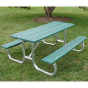 6' Galvanized Frame Picnic Table, Recycled Plastic, Green