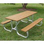 6' Galvanized Frame Picnic Table, Recycled Plastic, Cedar