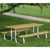 8' Galvanized Frame Picnic Table, Recycled Plastic, Cedar