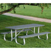8' Galvanized Frame Picnic Table, Recycled Plastic, Gray