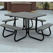 4' Square Picnic Table, Recycled Plastic, Gray