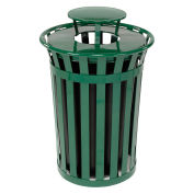 36 Gallon Outdoor Metal Slatted Trash Receptacle with Rain Bonnet Lid, Green