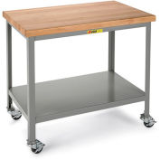 "LITTLE GIANT 1000-Lb. Capacity Mobile Workbench - 1-3/4"" Thick, 36x24"" Hardwood Top - Lower Shelf"