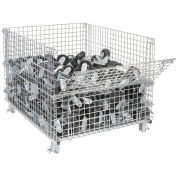"""Nashville Wire Folding Wire Container, 48x40x36-1/2, Drop Gate 40"""" Side"""