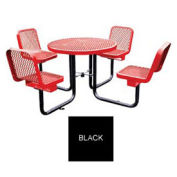 """36"""" Round Table w/4 Chairs, Surface Mount, Expanded Metal, Black"""