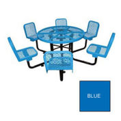 """46"""" Round Table W/6 Chairs, Surface Mount, Expanded Metal, Blue"""