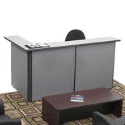 "L-Shaped Reception Station, 79""W x 43""D x 43""H"