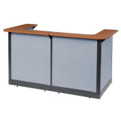 """88""""W x 44""""D x 46""""H U-Shaped Reception Station With Raceway, Cherry Counter/Blue Panel"""