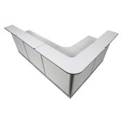 """116""""W x 80""""D x 46""""H L-Shaped Reception Station With Raceway, Gray Counter/Gray Panel"""
