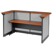 """88""""W x 44""""D x 46""""H U-Shaped Reception Station With Raceway, Cherry Counter/Gray Panel"""