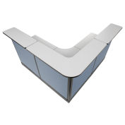 "80""W x 80""D x 46""H L-Shaped Reception Station With Raceway, Gray Counter/Blue Panel"