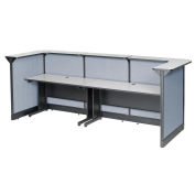 """124""""W x 44""""D x 46""""H U-Shaped Reception Station With Raceway, Gray Counter/Blue Panel"""