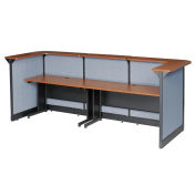 "124""W x 44""D x 46""H U-Shaped Reception Station With Raceway, Cherry Counter/Blue Panel"