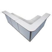 """116""""W x 80""""D x 46""""H L-Shaped Reception Station With Raceway, Gray Counter/Blue Panel"""