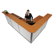 "116""W x 80""D x 46""H L-Shaped Reception Station With Raceway, Cherry Counter/Gray Panel"