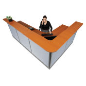 """116""""W x 80""""D x 46""""H L-Shaped Reception Station With Raceway, Cherry Counter/Blue Panel"""