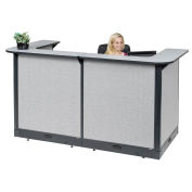 """88""""W x 44""""D x 46""""H U-Shaped Electric Reception Station, Gray Counter/Gray Panel"""
