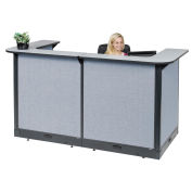 """88""""W x 44""""D x 46""""H U-Shaped Electric Reception Station, Gray Counter/Blue Panel"""