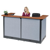 """88""""W x 44""""D x 46""""H U-Shaped Electric Reception Station, Cherry Counter/Blue Panel"""