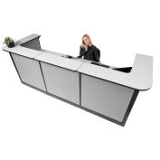 "124""W x 44""D x 46""H U-Shaped Electric Reception Station, Gray Counter/Gray Panel"