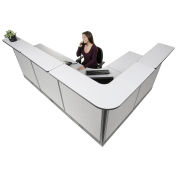 """116""""W x 80""""D x 46""""H L-Shaped Electric Reception Station, Gray Counter/Gray Panel"""
