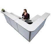 "116""W x 80""D x 46""H L-Shaped Electric Reception Station, Gray Counter/Blue Panel"