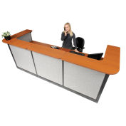 "124""W x 44""D x 46""H U-Shaped Electric Reception Station, Cherry Counter/Gray Panel"